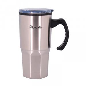 Taza de café de pared doble de acero inoxidable 16 oz con mango